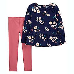 carter's® 2-Piece Floral Fleece Top and Legging Set in Navy/Pink