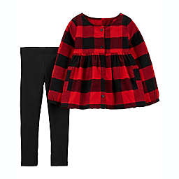 carter's® Size 9M 2-Piece Buffalo Check Top and Legging Set in Red/Black