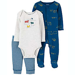 carter's® 3-Piece Happy Camper Sleep & Play Outfit Set in Blue