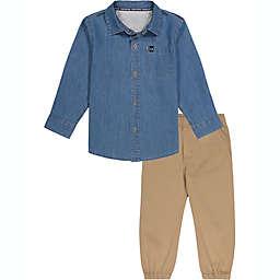 Calvin Klein® 2 Piece CK Logo Denim Shirt & Pant Set in Khaki