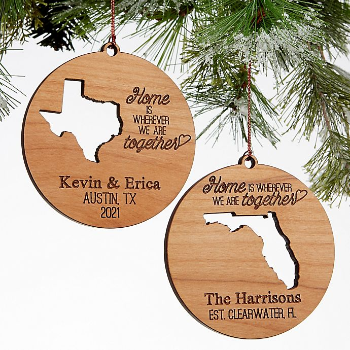 Alternate image 1 for State of Love Wood Christmas Ornament