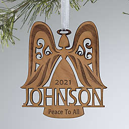 Family Angel Personalized Wood Christmas Ornament