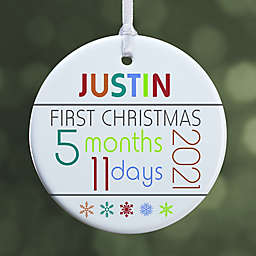 1-Sided Baby's First Christmas Age Glossy Christmas Ornament