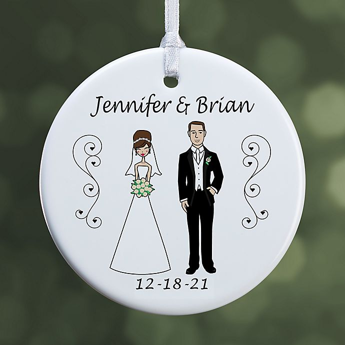 Alternate image 1 for Wedding Party Characters 1-Sided Glossy Christmas Ornament