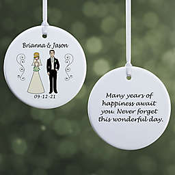 Wedding Party Characters 2-Sided Glossy Christmas Ornament