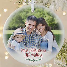 Holly Branch Round Matte Family Photo Ornament