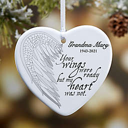 Your Wings 1-Sided Memorial Heart Ornament