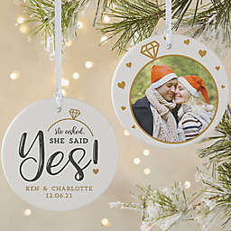 He Asked, She Said Yes Personalized Ornament