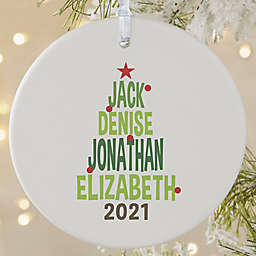 Christmas Family Tree Personalized 1-Sided Matte Christmas Ornament