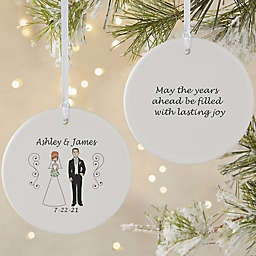 2-Sided Matte Wedding  Characters Personalized Ornament- Large