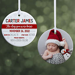 The Day You Were Born Personalized 2-Sided Glossy Christmas Ornament