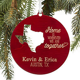 State of Love Wood Christmas Ornament in Brown