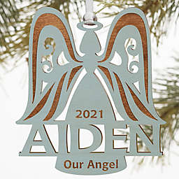 Family Angel Personalized Wood Ornament in Blue Stain