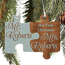 Mr. & Mrs. Personalized Wedding Wood Ornament in Blue Stain