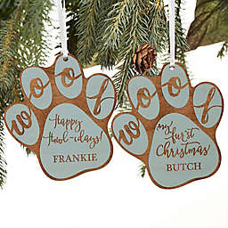 Happy Howl-idays Personalized Dog Ornament in Blue Stain