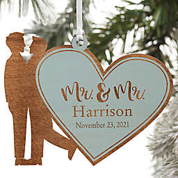Wedding Couple Personalized Wood Ornament- Mr. & Mr. Design in Blue Stain