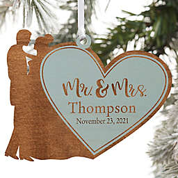 Wedding Couple Personalized Wood Ornament Mr. & Mrs. Design in Blue Stain