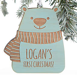 Baby Bear Personalized Wood Ornament in Blue Stain