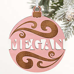 You Name It Personalized Wood Ornament in Pink Wash
