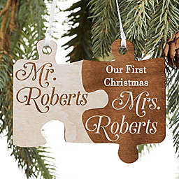 Mr. & Mrs. Personalized Wedding Wood Ornament in Whitewashed Stain