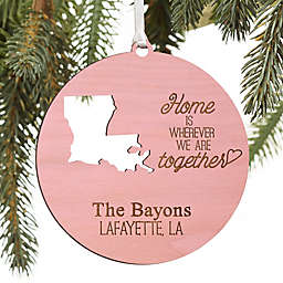 """""""State"""" Of Love Personalized Wood Ornament in Pink Stain"""
