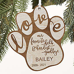 Hardest Goodbye Pet Memorial Personalized Ornament in Whitewash