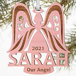 Family Angel Personalized Wood Ornament in Pink Stain