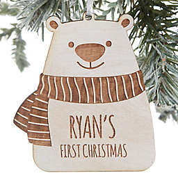Baby Bear Personalized Wood Ornament in Whitewash