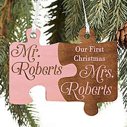 Mr. & Mrs. Personalized Wedding Wood Ornament in Pink Stain