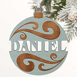 You Name It Personalized Wood Ornament in Blue Stain