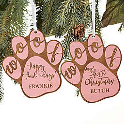 Happy Howl-idays Personalized Dog Ornament in Pink Stain