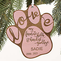 Hardest Goodbye Pet Memorial Personalized Ornament in Pink Stain