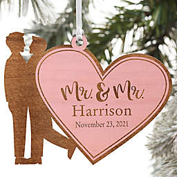 Wedding Couple Personalized Wood Ornament- Mr. & Mr. Design in Pink Stain