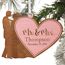 Wedding Couple Personalized Wood Ornament Mr. & Mrs. Design in Pink Stain