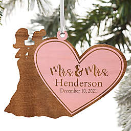 Wedding Couple Personalized Wood Ornament Mrs. & Mrs. Design Collection