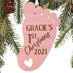 1st Christmas Baby Footprint Personalized Ornament in Pink Stain