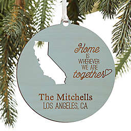 """""""State"""" Of Love Personalized Wood Ornament in Blue Stain"""