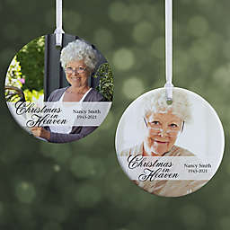 """Christmas In Heaven Memorial Photo Ornament- 2.85"""" Glossy - 2 Sided"""
