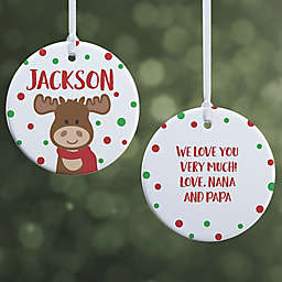 """Christmas Moose Personalized Ornament- 2.85"""" Glossy - 2 Sided"""