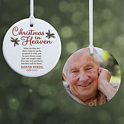 """Christmas In Heaven Personalized Memorial Ornament- 2.85"""" Glossy - 2 Sided"""