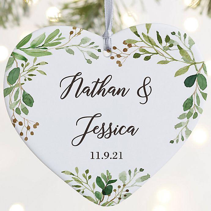 Alternate image 1 for Laurels Of Love Personalized Wedding Ornament- 3.625\