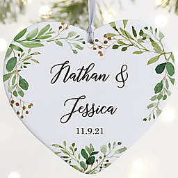 """Laurels Of Love Personalized Wedding Ornament- 3.625"""" Matte - 1 Sided"""