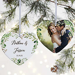 """Laurels Of Love Personalized Wedding Ornament- 3.625"""" Matte - 2 Sided"""