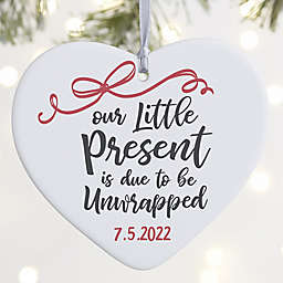 """Our Little Present Personalized Expecting Ornament- 3.625"""" Matte - 1 Sided"""