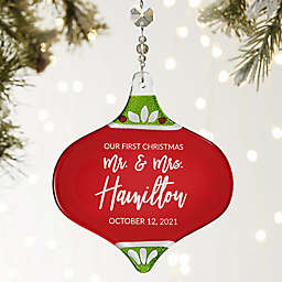 First Christmas Personalized Metallic Red Wedding Ornament