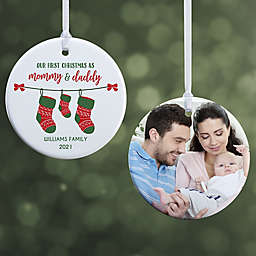 First Christmas as Parents 2.85-Inch Glossy 2-Sided Personalized Photo Ornament