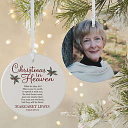 Christmas In Heaven 3.75-Inch Matte 2-Sided Personalized Memorial Ornament