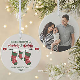 First Christmas as Parents 3.75-Inch Matte 2-Sided Personalized Photo Ornament