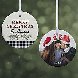 Festive Foliage 2.85-Inch Porcelain Christmas Ornament in Grey