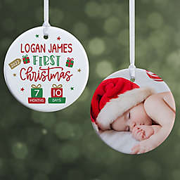 Baby's First Christmas 2.85-Inch 2-Sided Porcelain Christmas Ornament in White